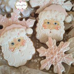 Santa cookies, Christmas cookies, gingerbread cookies, decorated cookies, shabby chic cookies, pink, keepsake cookie gift