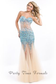 Rachel Allan 6547 - Strapless corset gown with low back. Heavily jeweled with tulle skirt.