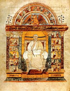 Full-page miniature of St. Luke as an evangelist, 6th century. This page prefaces the Gospel of Luke in the St. Augustine Gospels (Cambridge, Corpus Christi College MS 286).