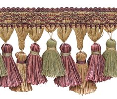 5 Yard Value Pack of Dusty Rose, Olive Green, Eggplant 3 Imperial II Tassel Fringe Style# Color: Olive Rose - 1010 Ft / Meters) Purple Gold, Pink And Green, Olive Green, Upholstery Trim, Dusty Rose Wedding, Fringe Fashion, Passementerie, Fringe Trim, Cherry Red