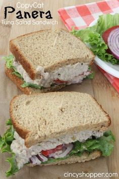 Panera Tuna Salad Sandwich Recipe- Great for lunch or dinner. Perfect sandwich to make at home this summer.CopyCat Panera Tuna Salad Sandwich Recipe- Great for lunch or dinner. Perfect sandwich to make at home this summer. Copycat Recipes, Seafood Recipes, Cooking Recipes, Healthy Recipes, Healthy Foods, Diet Foods, Dinner Recipes, Cooking Cake, Alkaline Foods