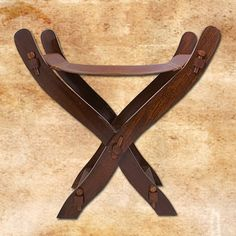 Medieval Scissors Chair with leather seat.: wood with leather. Camping Furniture, Furniture Making, Wood Projects, Woodworking Projects, Norse Projects, Furniture Projects, Wood Furniture, Larp, Medieval Furniture