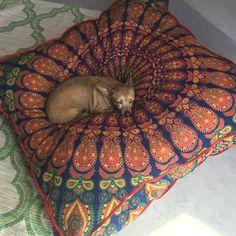 Huge mandala tapestry dog bed, mandala cushion cover, boho floor pillow, bohemian floor cushion, boho seating, boho decor, boho dog bed