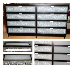 My Ikea Hopen dresser hack. Cut from poster board pieces the size of the inside front of the drawer. Cut fabric ±1 inch bigger on every side as the poster board. Spray glue on the fabric and wrap the poster board with the fabric. Insert in every drawer front.