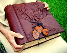 Large Leather Personalized Guest Book Family by Leatherdust