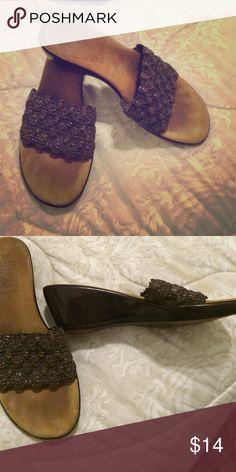 """Brown leather wedges 2"""" heel. Top is spandex Brown leather wedges 2"""" heel. Top is spandex bottom is leather size 8.5 by Mooties Tooties Mootsies Tiooties Shoes Wedges"""