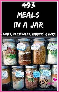 493 Meals In A Jar is part of Mason jar meals - Since we re always looking for ways to stretch your grocery budget, these meals in a jar will be an amazing help in stocking your pantry until it BURSTS! Mason Jar Meals, Mason Jar Gifts, Meals In A Jar, Mason Jars, Gift Jars, Make Ahead Meals, Freezer Meals, Freezer Recipes, Freezer Cooking