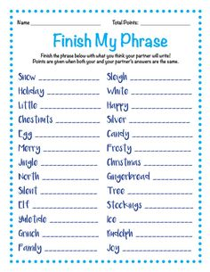 easy recipes - Finish My Phrase Finish The Phrase Christmas Scattergories Christmas Party Games Holiday Party Games Fun Christmas Party Games, Xmas Games, Office Holiday Party, Holiday Games, Christmas Activities, Christmas Traditions, Holiday Parties, Holiday Fun, Christmas Holidays