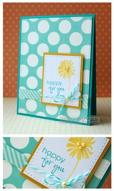 handmade card ... adore this color combo of aqua and yellow ... sweet flower and simple message .. great card ... Gina K