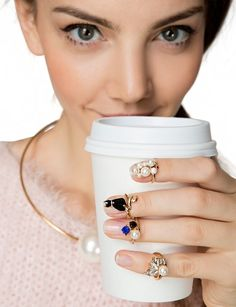 Cat Pearls Knuckle Ring Set - Nail Rings - Gold Rings - $14