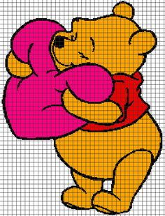 Winnie the Pooh Holding Heart (Graph AND Row-by-Row Written Crochet Instructions) – 01 - Knitting Charts Pixel Crochet Blanket, Graph Crochet, Tapestry Crochet, Crochet Blanket Patterns, Baby Knitting Patterns, Crochet Filet, Winnie Pooh Baby, Winnie The Pooh Blanket, Disney Winnie The Pooh