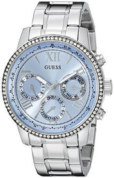 GUESS Womens U0559L4 Classic Sporty Stainless Steel Watch with Blue Dial * Visit the image link more details.