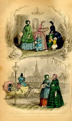 1851 Godeys - January. Merry Christmas and a Happy New Year