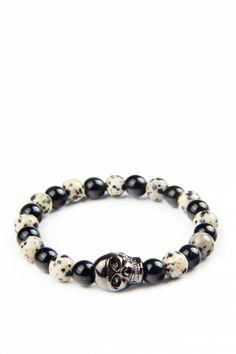 Metal Kurukafa Motifli Desenli Oniks ve Bıldırcın Jasper Taşlı Bileklik Moda Mislina'da.. #women #fashion #bracelets #dogaltasbileklik #kadinmodasi #yenimodeller #products #moda #trend #bestof2015 #modamislina www.modamislina.com