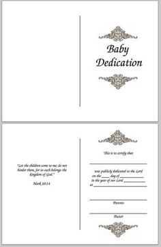 Baby Dedication Certificate (Free