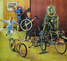 Vintage Christmas Bicycle Ad--looks like our tree with all the tinsel.