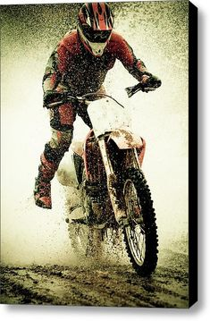 Dirt Bike Rider Stretched Canvas Print / Canvas Art By Thorpeland Photography need for husbands man cave Moto Enduro, Enduro Motocross, Triumph Motorcycles, Ducati, Yamaha, Mopar, New Dirt Bikes, Bike Photoshoot, Dirt Bike Girl