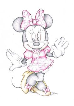 Minnie Mouse Disney Cartoon Art Colour Pencil by SJDIllustration, £3.99