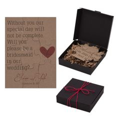 Nothing says you are a dear friend more than an invitation to be a bridesmaid. Take the request to the next level by making a bridesmaid puzzle and placing it in a handmade keepsake box.
