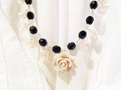 Lucy Beautiful Black and pink Necklace #jewelry #681team http://www.etsy.com/treasury/MTg1ODU3MTB8MjcyMDc3MDM4Mw/queen-of-the-night