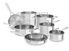 KitchenAid Tri-Ply Stainless 12-Pc Cookware Set #LavaHot http://www.lavahotdeals.com/us/cheap/kitchenaid-tri-ply-stainless-12-pc-cookware-set/123997
