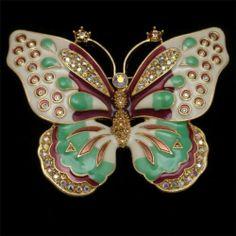 Butterfly Pin Large Enamel & Rhinestone Brooch Kenneth Jay Lane
