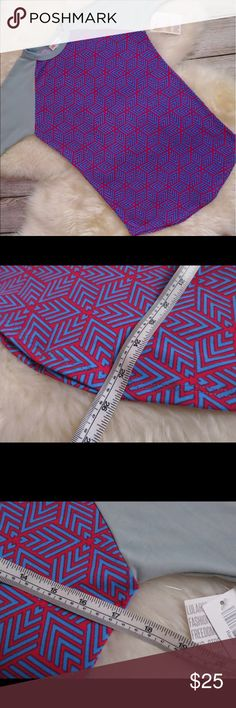 NWT Lularoe Randy XXS 3/4 Tee red blue geometric Size xxs but see measurements. Sleeves are like a green/grey color with fun and bright red+blue design. LuLaRoe Tops Tees - Long Sleeve