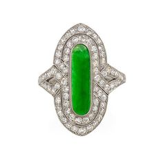 Art Deco Jade Diamond Ring | From a unique collection of vintage fashion rings at https://www.1stdibs.com/jewelry/rings/fashion-rings/