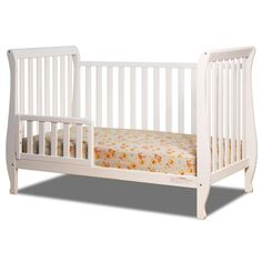 This white wood crib has a sleigh-bed vibe with its curved accents. This painted white crib is the perfect focal point for any nursery decor, from bold and bright to soft and neutral. Contemporary Cribs, Wood Crib, 4 In 1 Crib, Best Crib, Sleigh Beds, Convertible Crib, Crib Mattress, Baby Furniture, Baby Cribs