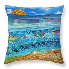 At the Water's Edge Throw Pillow x by Susan Rienzo Crazy Patchwork, Patchwork Fabric, Patchwork Patterns, Fabric Art, Quilt Patterns, Pillow Patterns, Patchwork Cushion, Beach Quilt, Ocean Quilt