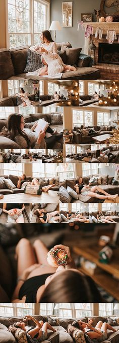cozy in home maternity session, christmas tree lights, christmas maternity, pregnant mama reading book, pregnancy, Christmas pregnancy, holidays, maternity photosession with donuts, krispy kreme maternity session - katyavilchyk.com
