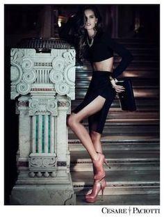 cesare paciotti - black slit skirt - fall 2012