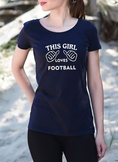 THIS GIRL LOVES FOOTBALL Womens Premium T Shirt Coral Navy Black Tops Quotes…