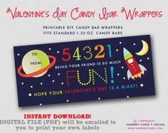 INSTANT DOWNLOAD! Outer Space Valentine's Day Candy Bar Wrapper (DIY/Digital File to Print Your Own)