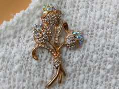 Vintage Crystal Floral Bouquet Gold-Tone Brooch with Iridescent Flowers - Visit my Etsy shop: www.etsy.com/shop/AyQueBella