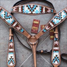 HILASON Western American Leather Horse Headstall Breast Collar Aztec Hand Paint for sale online Horse Bridle, Western Horse Tack, Horse Gear, My Horse, Horse Riding, Riding Gear, Rodeo Cowgirl, Western Saddles, Bling Horse Tack
