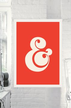 Ampersand Wall Art Decor @Etsy www.motivatedtype.com Wall Art Ideas, Retro Wall Art, Typographic Art Prints, Ikea