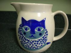 Fabulous Mid Century Arabia Finland Large Cat Pitcher by Kaj Franck