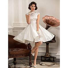 A-line Princess Jewel Short/Mini Satin Wedding Dress (783863) – USD $ 69.59....If this were longer it would be more appropriate for the style...