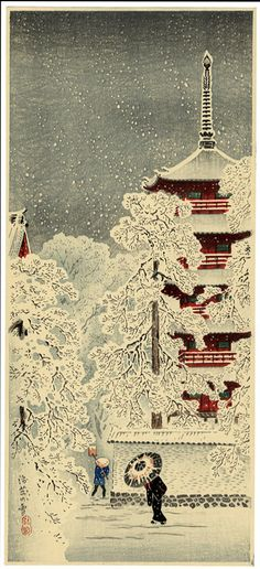Shotei, Snow at Asakusa #Shotei #Asakusa