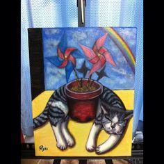 #猫 #かざぐるま #油絵 久々の投稿&初めてキャンバスに描いてみた by popopon9876