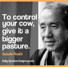 Career Lesson: To control your cow, give it a bigger pasture #Leadership #Quote #Zen #Proverb #Business