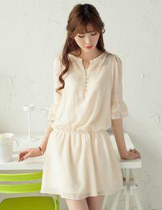 Ladylike shorter Sleeve Mesh Splicing Smocked Waist Dress