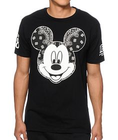 An iconic classic gets a street makeover with a paisley bandana print Mickey Mouse chest graphic with a tagless design for comfort.