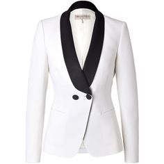 Emilio Pucci - Tuxedo Blazer (2.630 BRL) ❤ liked on Polyvore featuring outerwear, jackets, blazers, tops, coats, white, women, dinner jacket, white dinner jacket and tux jacket