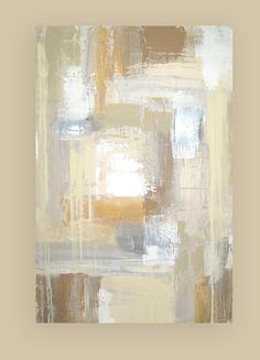 "Acrylic Abstract Painting Original Art on Canvas Titled: White Sands 4 24x36x1.5"" by Ora Birenbaum"