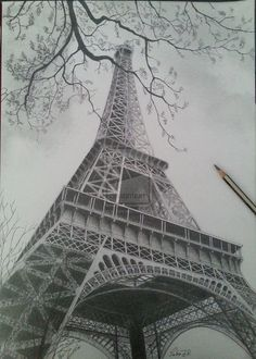 Easy Drawings: 70 Easy and Beautiful Eiffel Tower Drawing and Sketches Landscape Drawings, Pencil Art Drawings, Art Drawings Sketches, Cool Drawings, Sketch Drawing, Landscape Art, Sketching, Landscape Design, 3d Pencil Sketches