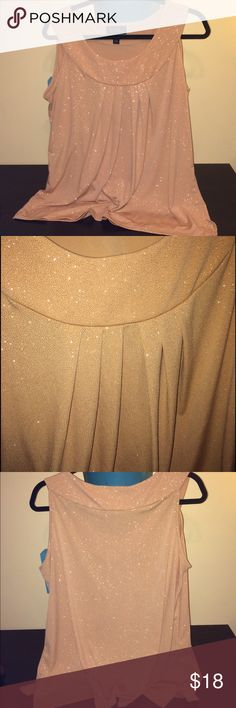 ✅FLASH SALE✅ Gold Round Neck Sleeveless Tank Beautiful Gold Tank with a rounded neckline and delicate pleating at the front that provides an extra classy touch. All eyes will be drawn your you as you enter the room in this amazing wardrobe piece!                                                        Like new condition.  Unlike much glitter clothing, the glitter does not transfer, fall off, etc. 😊👏🏻 Tops Tank Tops