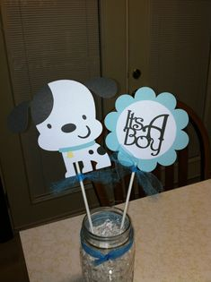 This Dog Baby Shower centerpiece sticks, puppy baby shower,dog centerpiece, It's a boy centerpiece is just one of the custom, handmade pieces you'll find in our centerpieces shops. Baby Boy Themes, Boy Baby Shower Themes, Owl Themes, Baby Shower Decorations For Boys, Baby Shower Centerpieces, Puppy Party, Baby Party, Baby Puppies, Baby Dogs