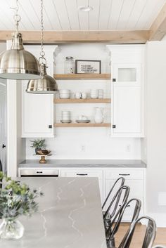 New Kitchen Countertops With White Cabinets Quartz Open Shelving Ideas Farmhouse Kitchen Cabinets, Kitchen Paint, Kitchen Countertops, New Kitchen, Kitchen Ideas, Kitchen Grey, Kitchen Designs, Kitchen Backsplash, Kitchen Inspiration